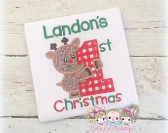 Boys 1st Christmas shirt - 1st Christmas reindeer shirt for boys - First Christmas shirt with reindeer - personalized 1st Christmas shirt