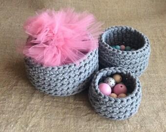 Gray nesting basket, set of 3 storage baskets, crochet basket, cotton rope basket, for her, scandinavian home decor, modern storage bowl