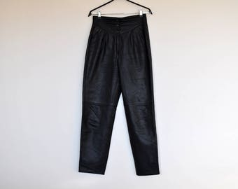 NOS Vintage Dark Teal Blue Genuine Leather High Waist Front Pleated Baggy Tapered Pants
