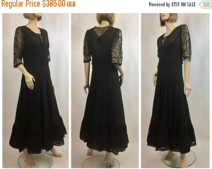 SUMMER SALE 1930's Black Crinkle Silk Chiffon & Chantilly Lace Tea Dress - 30's Cocktail Dress - Antique Mourning Dress - Museum Collection