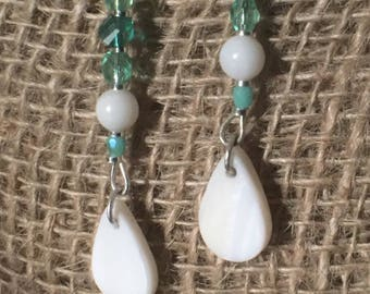 Sea Green and Shell Earrings
