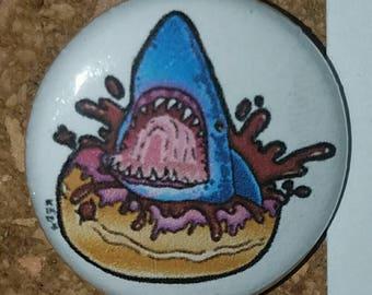 "Shark Donut 1"" Pin, Pinback Button, White"