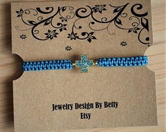 Cross Bracelet Faith Bracelet Inspirational Turquoise Macrame Bracelet Friendship Bracelets Religious Bridesmaid Jewelry Accessories