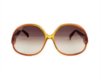 Vintage Playboy Optyl 3022-10 Sunglasses // Large Big Eye Amber Frames, Gradient Lenses, Made in Austria 1970s/80s Summer Festival Boho Chic