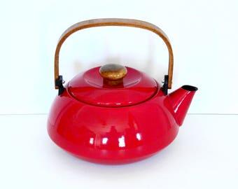 Mid Century Modern Red Copco Style Tea Kettle