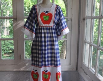 Blue and White Check Kaftan Maxi Dress. Big Apple Mod Bold Graphics. Vintage 1960s. 4th of July Red White and Blue/Beach Cover Up. S