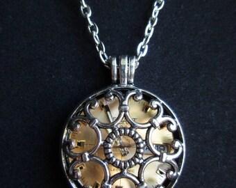 Gold Watch Locket Necklace