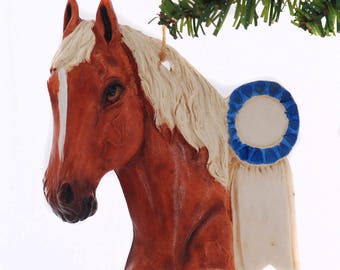 Personalized Horse Christmas ornament - Sorrel Chestnut with flaxen mane horse ornament -  made in the USA (137)