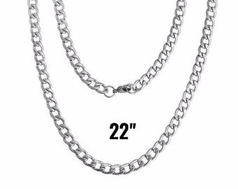 """5 Silver Necklaces - Stainless Steel - Silver Curb Chain - 21 5/8"""" Long - Ships IMMEDIATELY from California - CH766a"""