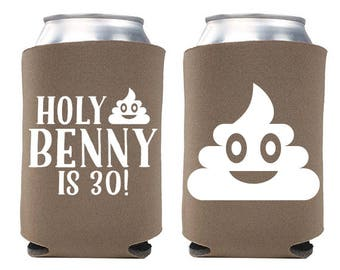 Custom Birthday Party Can Cooler - Holy Poop Emoji - Holy Sh*t Birthday Can Coolers