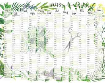 A2 2018 printed wall planner, year planner and calendar