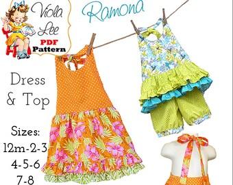 Ramona Girls Halter Top Pattern, Girls pdf Sewing Pattern. Girls Summer Dress Pattern, Toddler Dress Pattern. Girls Dress Pattern. Download