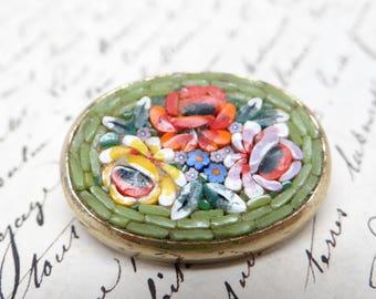 Vintage Italian Mosaic Brooch Pin, Multiflora Glass Flowers