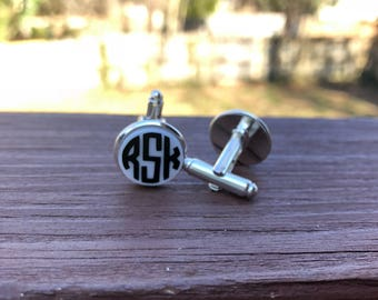 Personalized Monogram Cuff Links Groom Groomsmen Gift