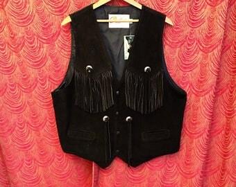 Vintage Fringed Leather Vest Black Suede XL L42
