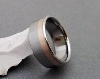 Titanium and 18k Solid Rose Gold Ring, Titanium Wedding Ring, Mens Titanium Band, Womens Titanium Ring, Promise Ring, Engagement Ring