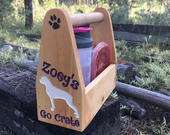 Dog Go Crate - Walk Hike Day Trip Food Water Leash Poop Bag Carrier - Pine Wood Totally Customizable with Your Breed & Pet's Name