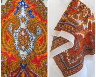 Vintage Casmilon Scarf Exotic Vibrant Colors Neon Orange Bohemian Hippie Psychedelic Pattern Made in Japan