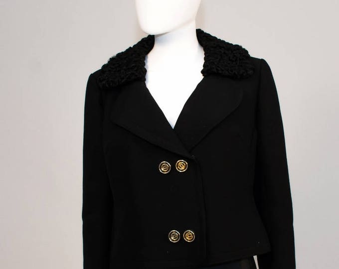 Vintage 60's 1960's Black Cropped Mansfield Wool Jacket With Astrakan Persian Lamb Collar Frank Russell 44 Bust L Statement Buttons