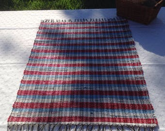 Red White and Blue Striped Handwoven Recycled Grocery Bag Rug