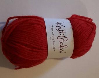 Knit Picks 100% Peruvian Highlands Wool - red, 50g