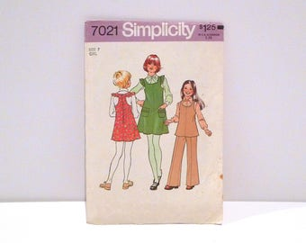Jumper Tunic Pants Vintage Simplicity 7021 Sewing Pattern Ruffled Cap Sleeve Smock Dress T Back Top Sundress 1970s Never Used Girls Size 7