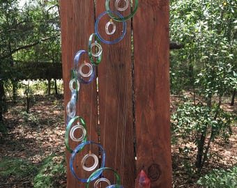 lt blue, lt green clear ,GLASS WIND CHIMES from recycled bottles,  garden decor windchimes mobiles handmade