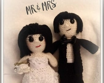 On Sale Wedding Couple Dolls Bride and Groom Bride and Bride Groom and Groom dolls about  10 inches tall Handmade Crochet Made to Order