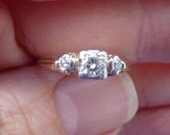 Art Deco European cut  Engagment Ring  VS1 E  color Diamonds in Palladium   and 14KT with diamonds   Bright Diamonds  20 points Center