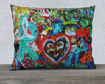 Highlight you decor with this beautiful Graffiti throw pillow