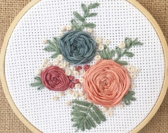 Floral hand embroidery