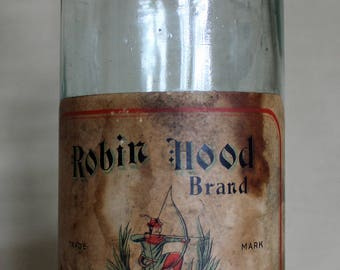 C. 1880's  Robin Hood Brand Breakfast Syrup Bottle- R.C. Williams & Co.