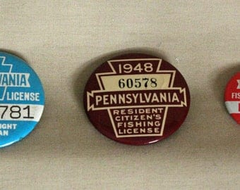 Lot of 3 Pennsylvania Resident Fishing License Pinbacks- 1948, 1974, 1975