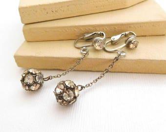 Vintage Pave Rhinestone Bead Dangle Long Clip On Earrings D40