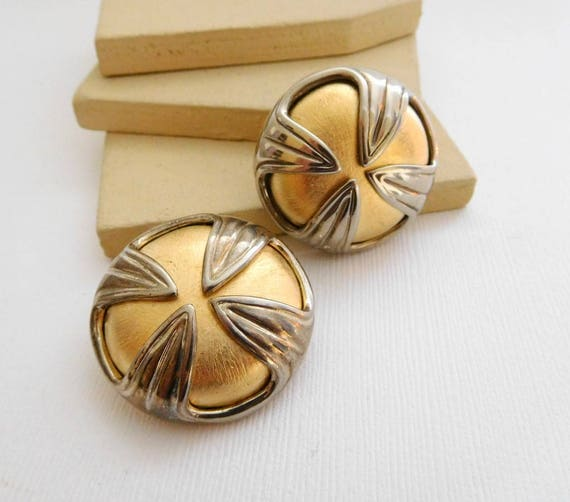 Vintage Erwin Pearl Silver Gold Mixed Metal Large Mod Dome Clip On Earrings WW35