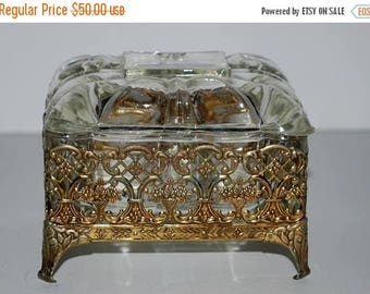 weekend sale vintage glass and metal vanity box  jewelry casket