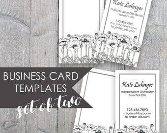 Poppies Business Card, Floral Business Card, Black and White Calling Card,  Poppy Business Card, Business Card Template