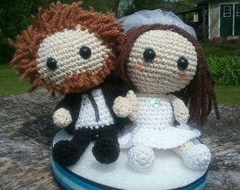 Personalized Doll Couple Wedding Cake Topper - Available in Your Choice of Colors