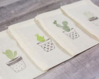 Set of 12 Hand stamped Cactus Succulent Plants Bag Muslin Party Favor Bags Eco Friendly 100% organic