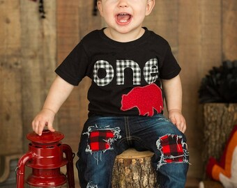 Lumberjack Birthday Outfit  First Birthday Shirt plaid woodland bear Boys Shirt One