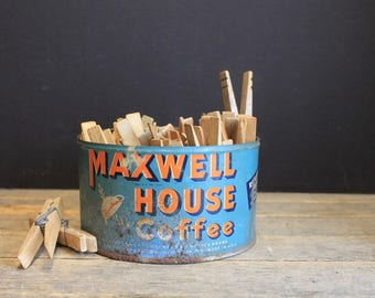 Vintage Maxwell House Coffee Tin With Vintage Clothespins // Primitive Farmhouse