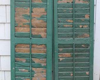 A Pair of Vintage Old Wood Shutters  // Chippy Paint Green Louvered  // 46""