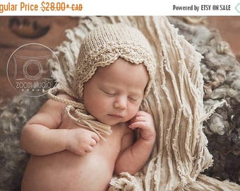 Happy Birthday sale Baby handknitted bonnet, vintage lace, props