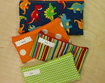 Kids Cash Envelope Wallet, Kids Cash Budget System, Give, Save, Spend -Dinosaurs on Blue- for use with the Dave Ramsey System, READY to SHIP