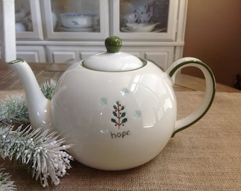 "Lovely TAG ""Hope"" Teapot with Simple Holly Christmas Tree and Snowflakes"