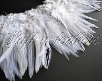 Wholesale / Bulk feathers – Light silver gray with a hint of lavender rooster saddle feathers real feathers strung / 4-6 in long / FB169-4