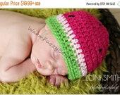 SUMMER SALE Baby Watermelon Hat - Crochet Newborn Beanie Boy Girl Costume Preemie Halloween  Photo Prop Christmas Gift Winter Outfit