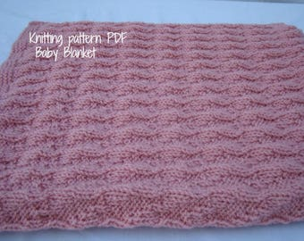 KNITTING  PATTERNS Baby Blanket Pattern- Knit Pattern PDF- diy Reversible Baby Blanket - Instant Download