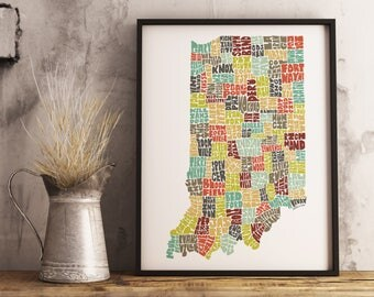 Indiana typography map, Framed option available, Indiana map art, Indiana art print, Indiana wall décor, Indiana poster print