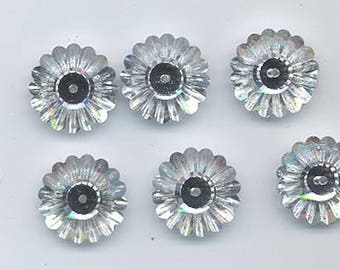 Six vintage Swarovski crystal margarita beads: Art. 3701 - 16 mm - crystal comet argent light